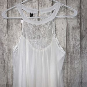 White Chiffon mini dress with lace chest